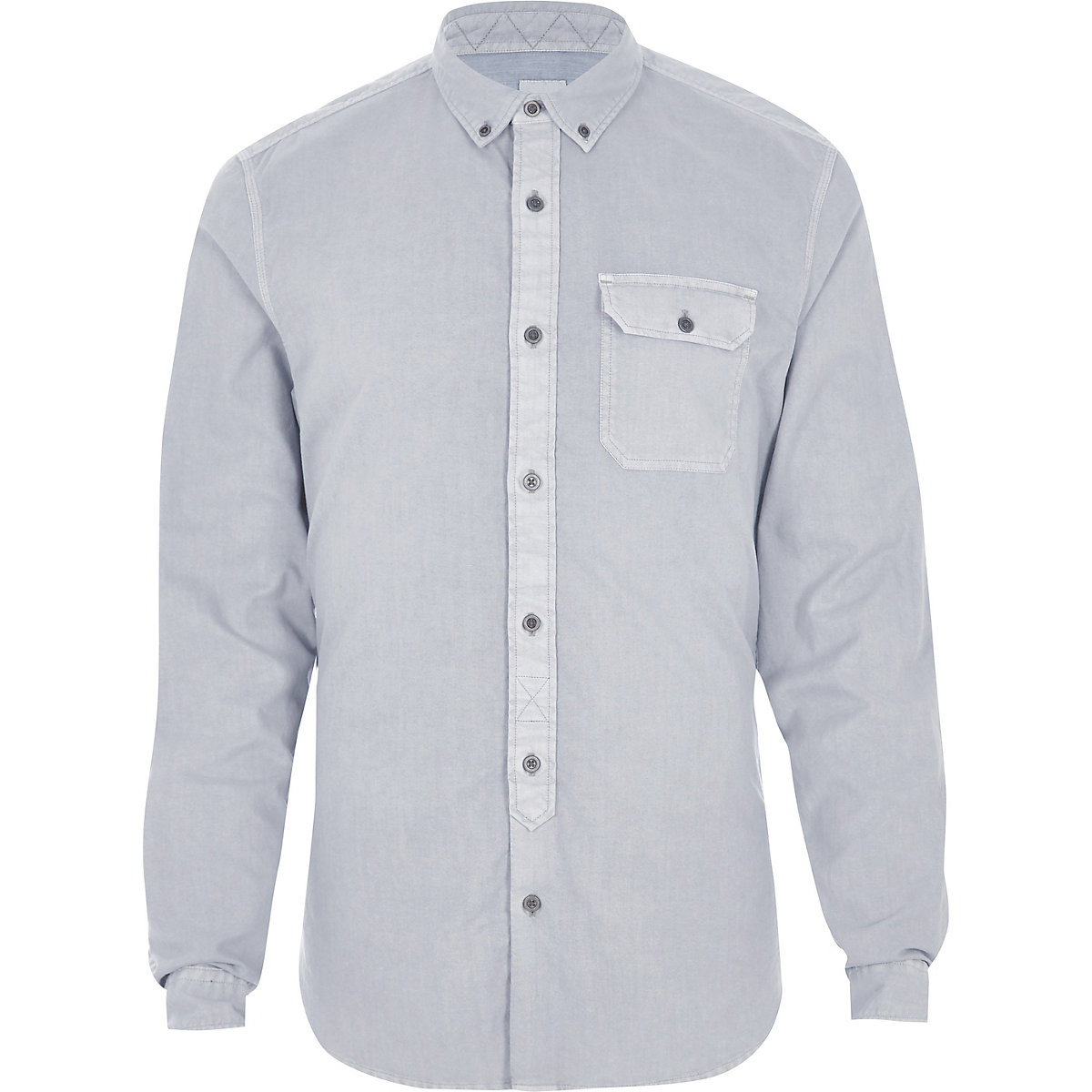 Grey washed slim fit button-down shirt