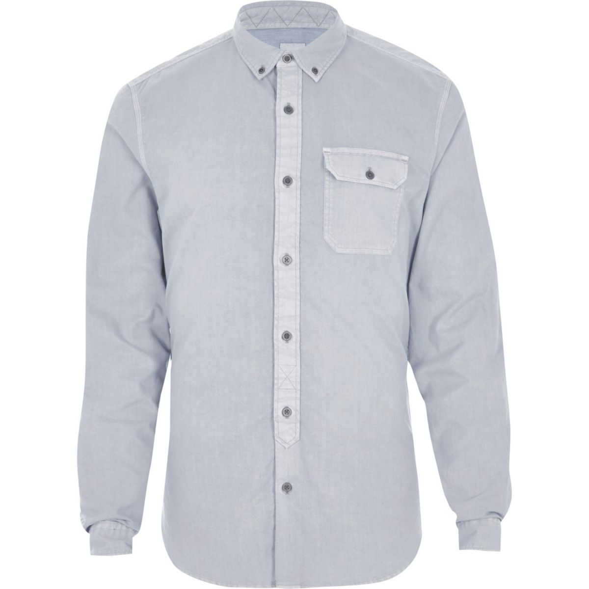 Grey washed slim fit button down shirt shirts sale men for Grey button down shirt