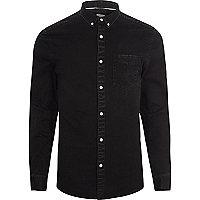 Black denim button-down shirt