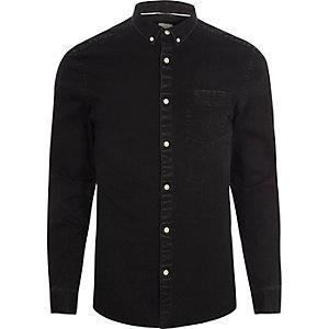 Zwart denim button-down overhemd