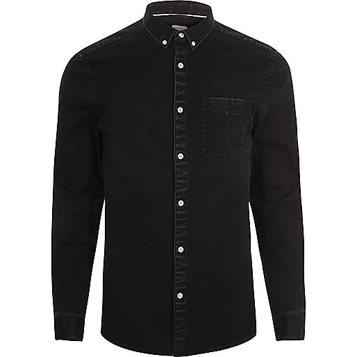 Black denim button-down shirt