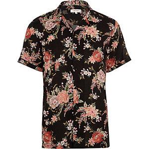 Black floral print short sleeve shirt