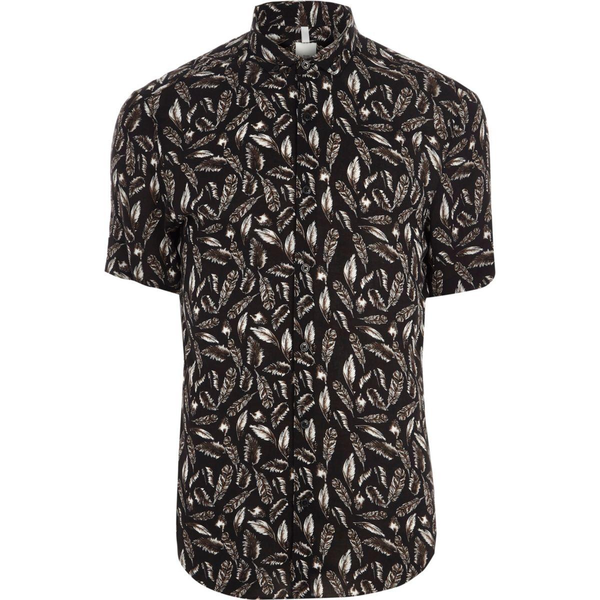 Black feather slim fit short sleeve shirt