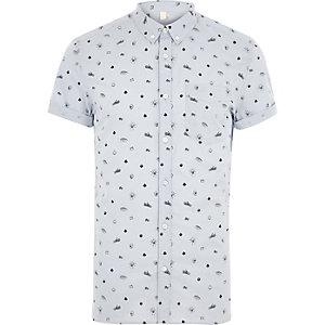 Blauw slim-fit overhemd met korte mouwen en doodshoofdprint