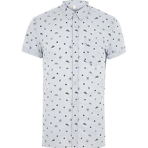 Blue skull print slim fit short sleeve shirt