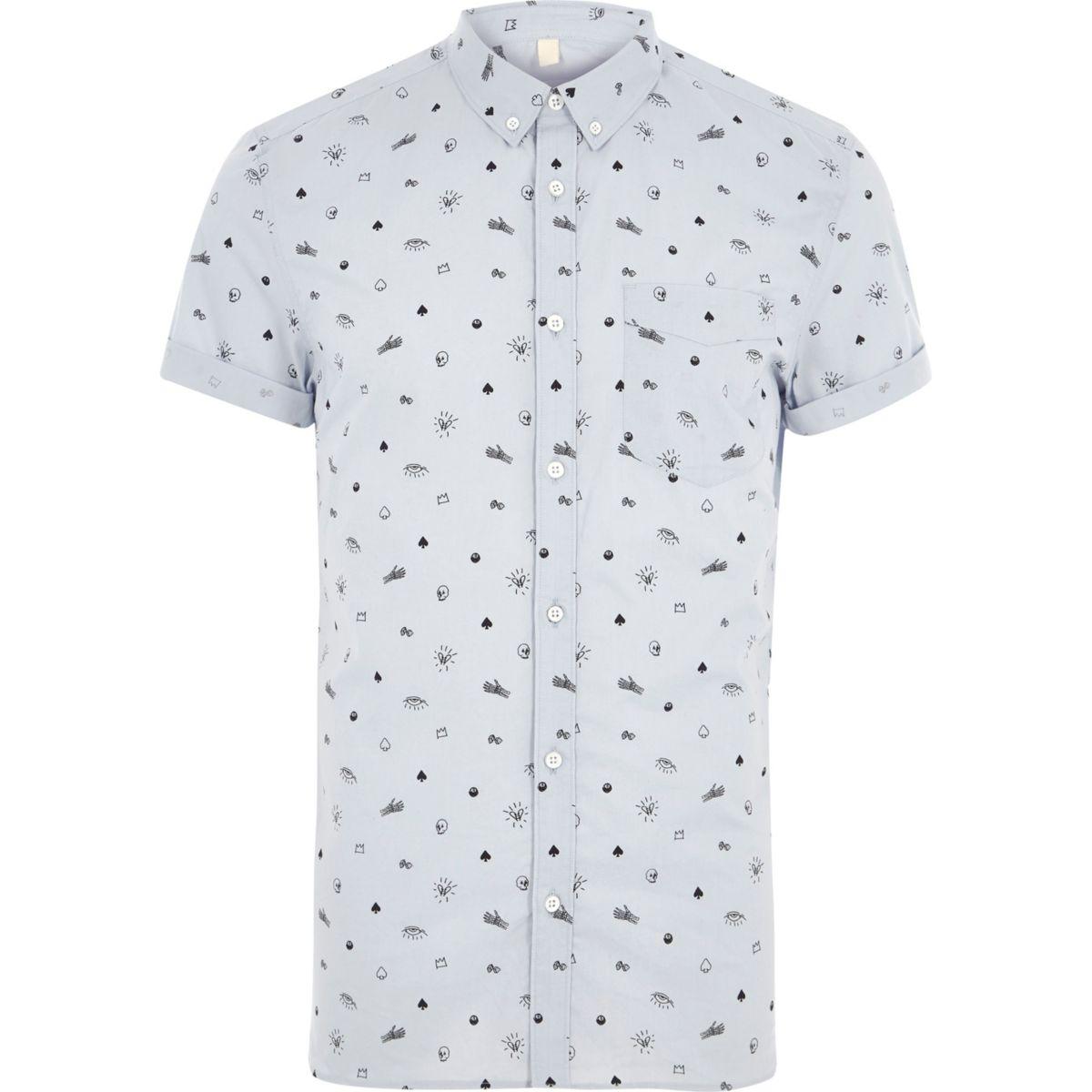 Blaues Slim Fit Hemd mit Totenkopfmotiv