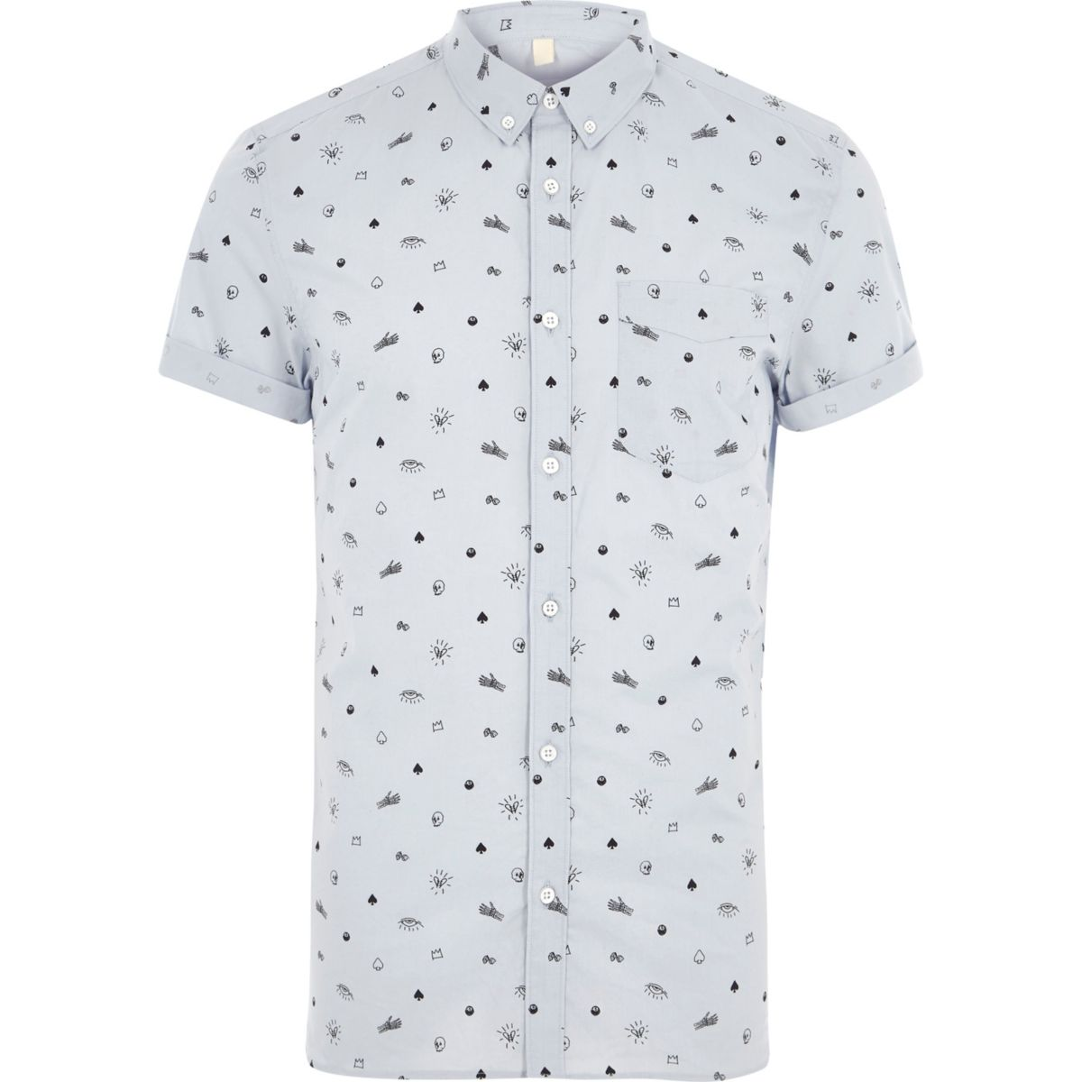 Blue skull print slim fit short sleeve shirt