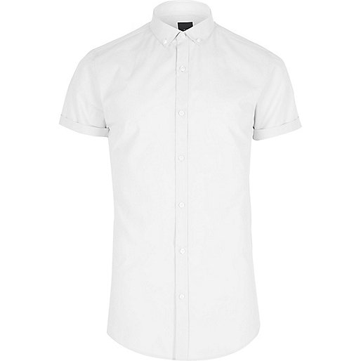 White slim fit short sleeve button-down shirt