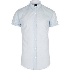 Blue slim fit short sleeve button-down shirt