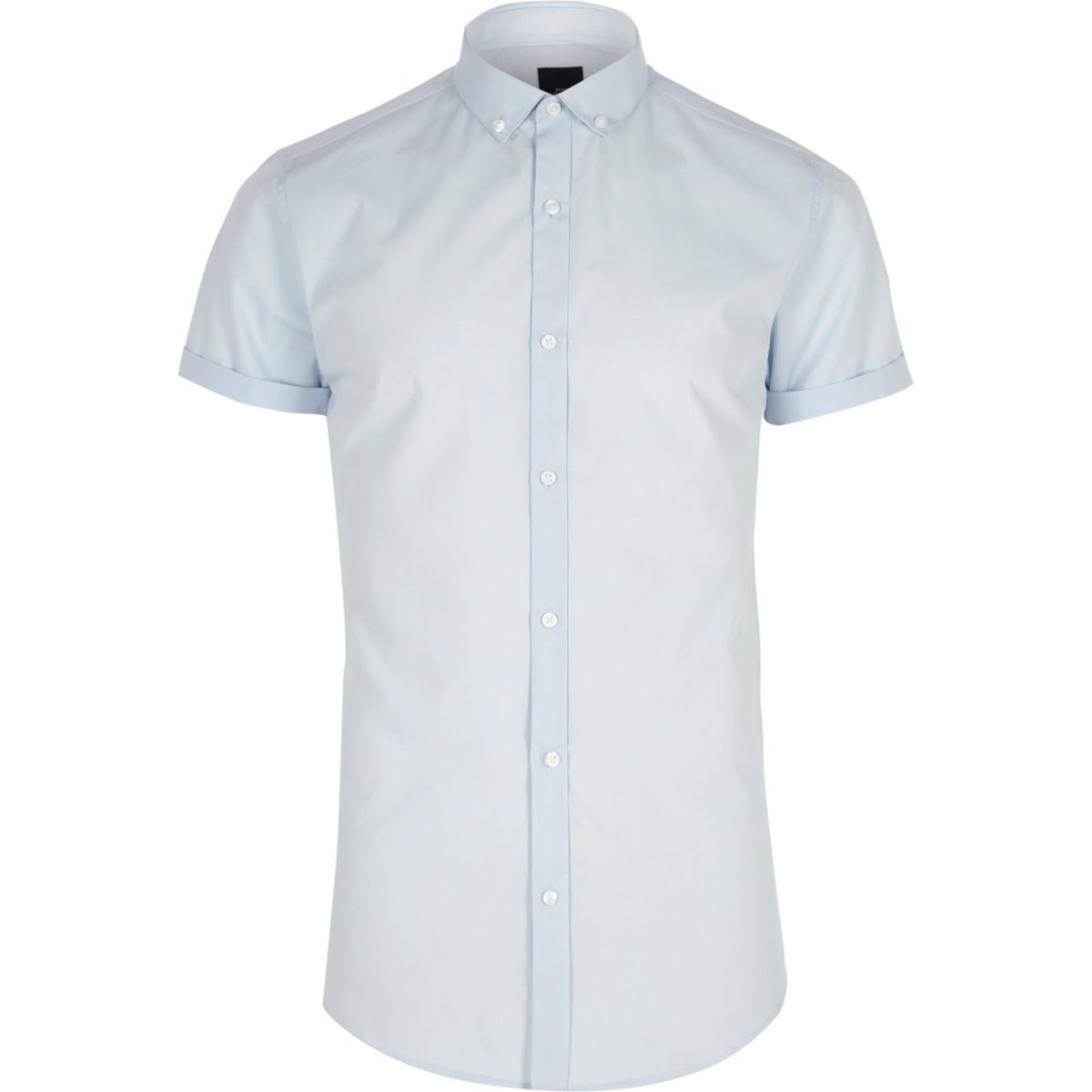 Blue slim fit short sleeve button-down shirt