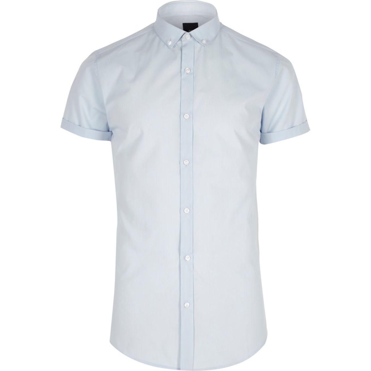 Blauw slim-fit overhemd met korte mouwen en knoopsluiting
