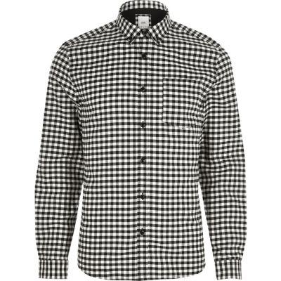Zwart slim-fit overhemd met gingham-ruit en button-down kraag