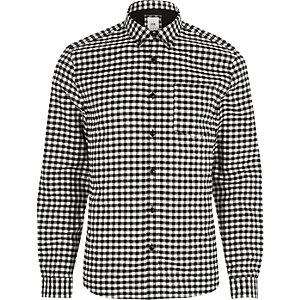 Black gingham slim fit button-down shirt