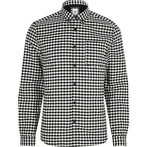 Black gingham slim fit button down shirt long sleeve for Slim fit gingham check shirt