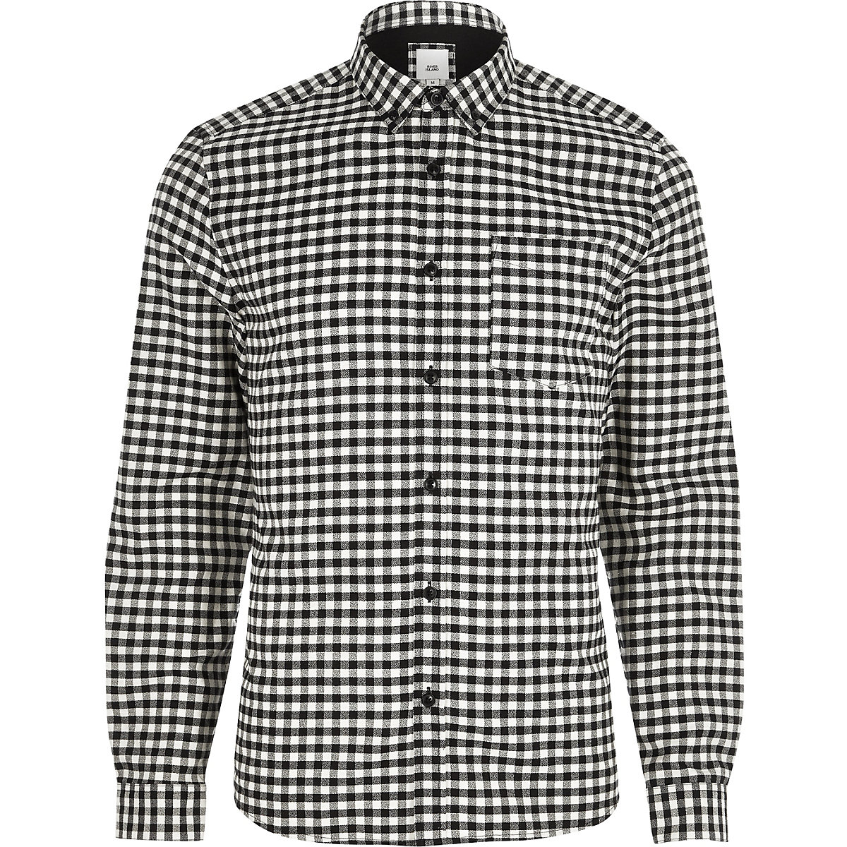 Black gingham slim fit button-down shirt