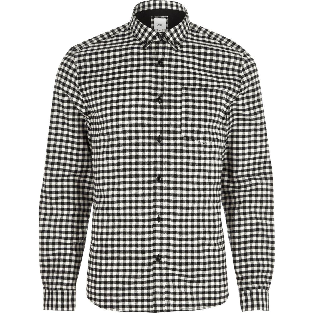 Chemise slim à carreaux vichy noire boutonnée