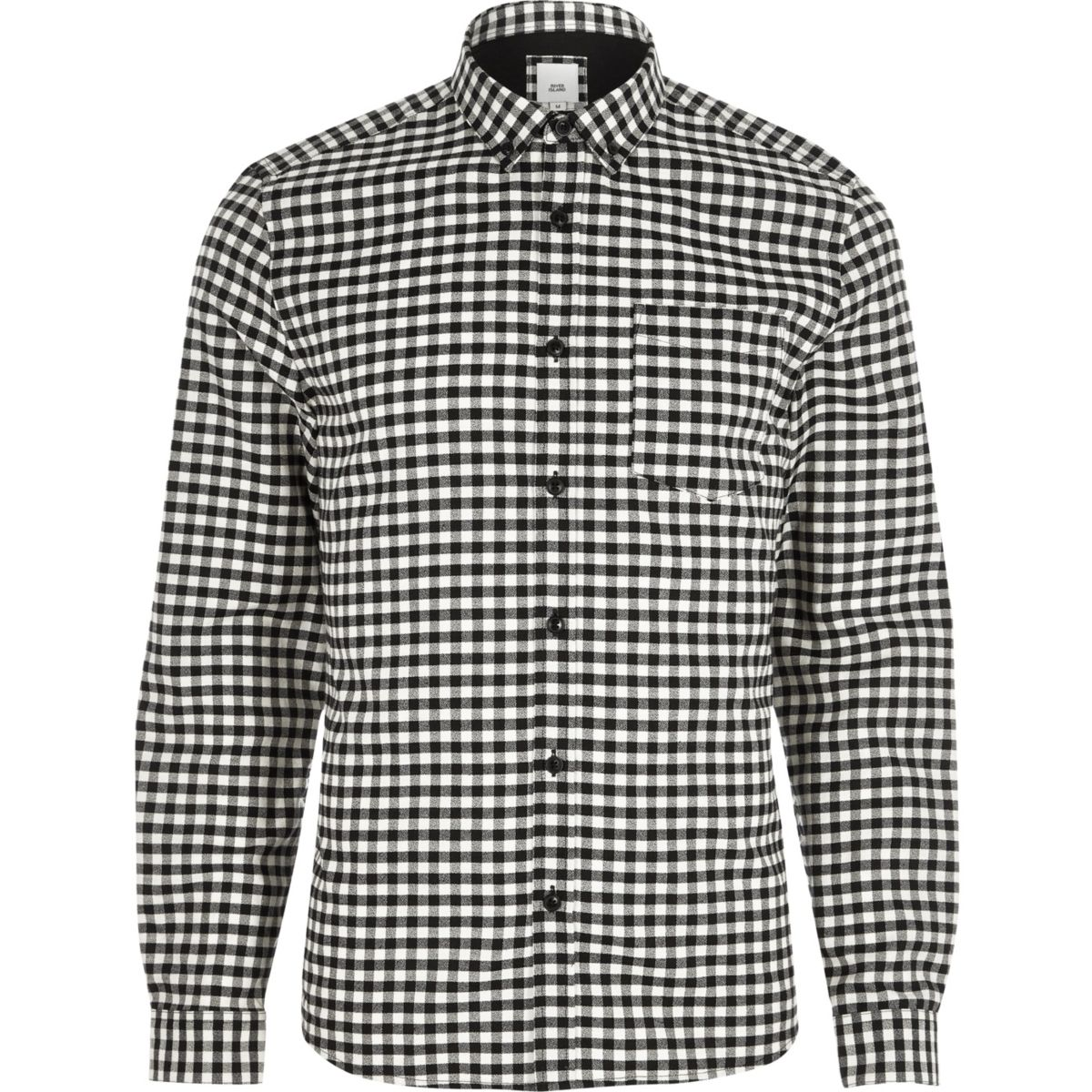 Zwart slim-fit overhemd met gingham-ruit en button-down kraag