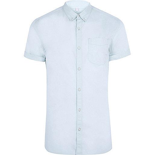 Light blue muscle fit short sleeve shirt