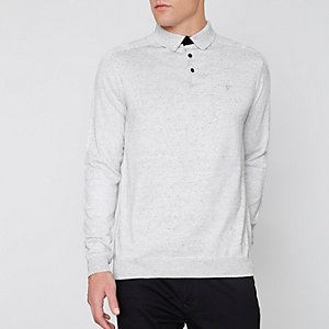 Graues, langärmeliges Poloshirt in Slim Fit