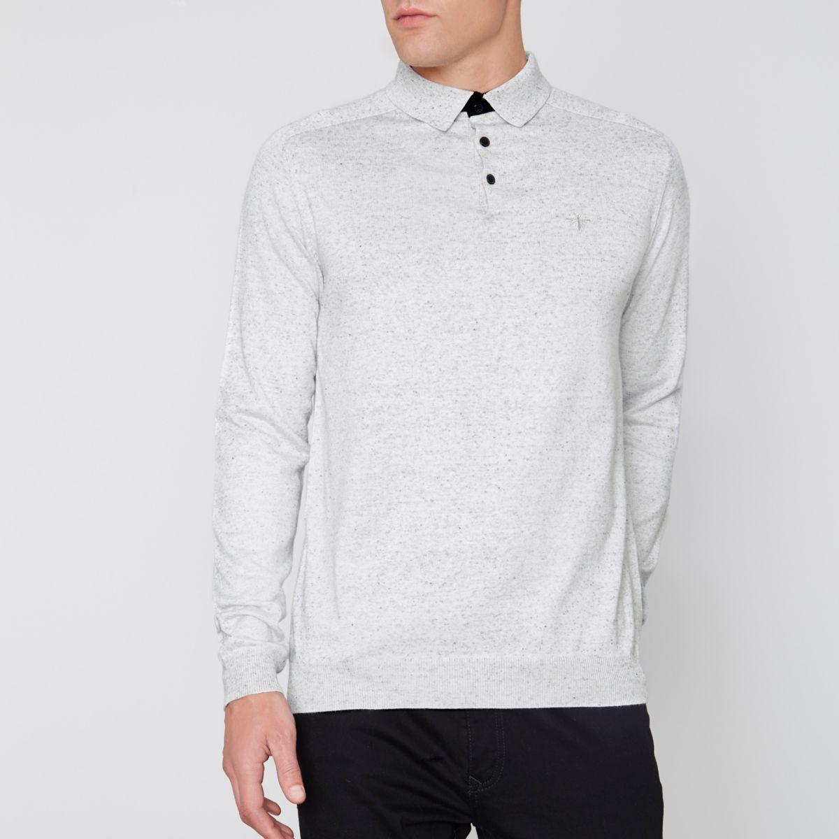 Light grey long sleeve knitted polo shirt
