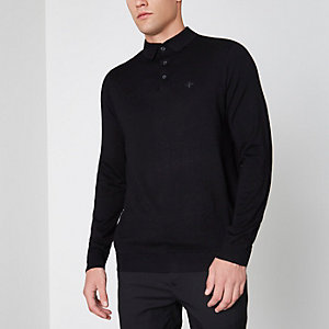 Black slim fit long sleeve knitted polo shirt