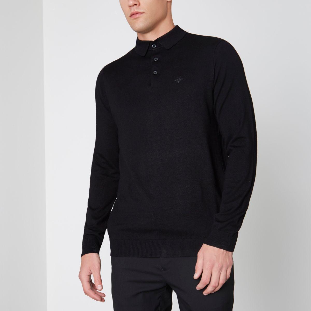 Schwarzes, langärmeliges Poloshirt in Slim Fit