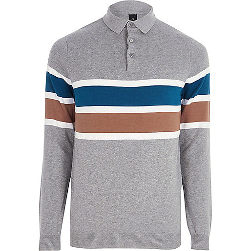 Grey blocked slim fit knitted polo shirt