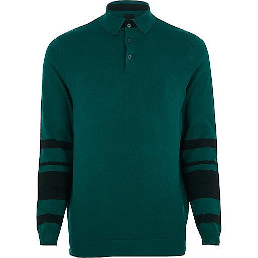 Green knit block sleeve slim fit polo shirt