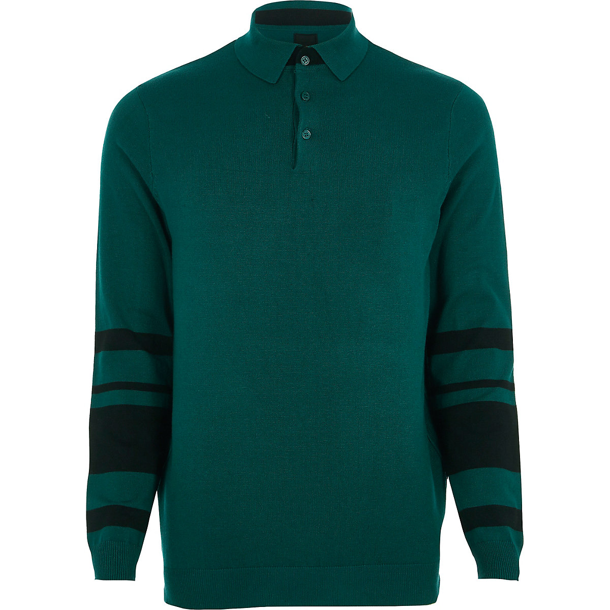 Green knit block sleeve slim fit polo shirt