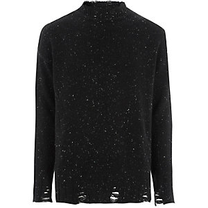 Black flecked knit crew neck sweater