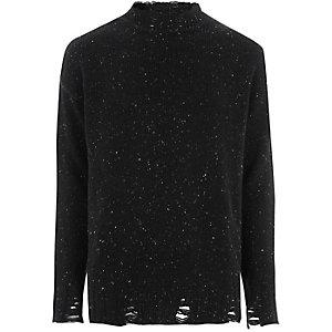 Zwarte gemêleerde pullover met ronde hals