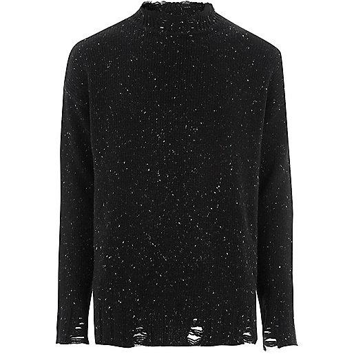 Black flecked knit crew neck sweater