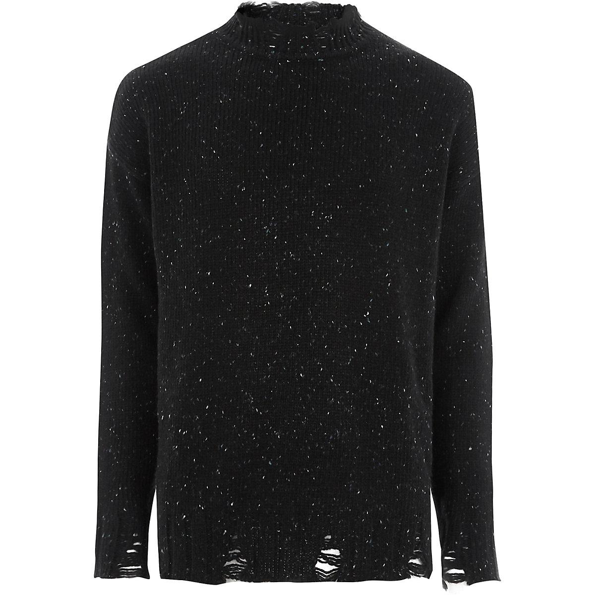 Black flecked knit crew neck jumper