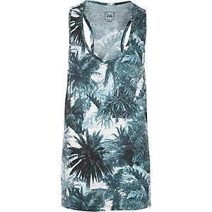 Blue palm tree print racer back tank