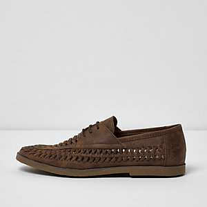 Tan woven lace-up shoes