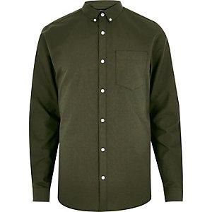 Kakigroen oxford overhemd met lange mouwen