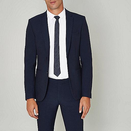 Blue super skinny suit jacket
