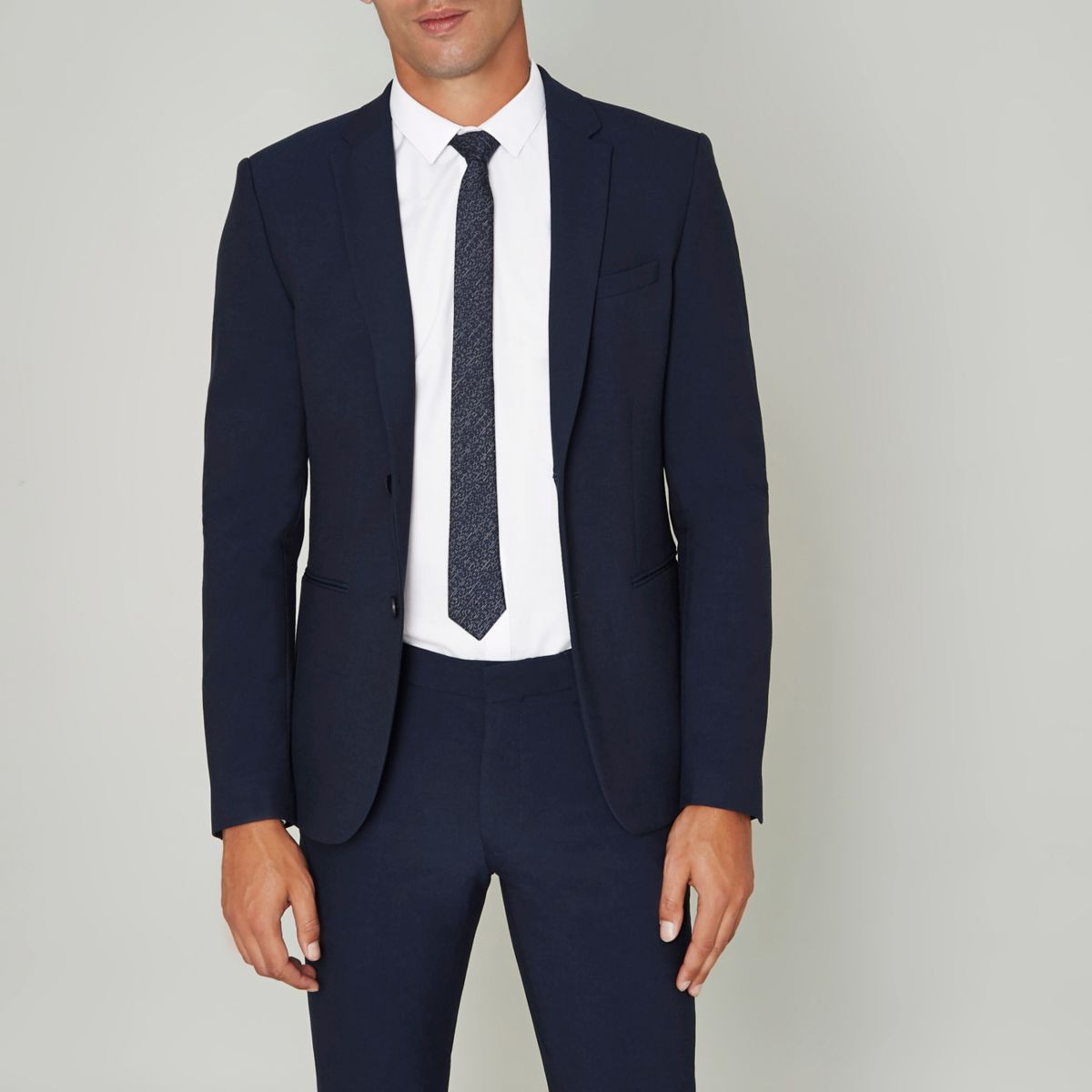 Blue super skinny suit jacket