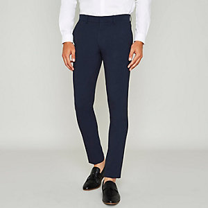 Blue super skinny suit trousers
