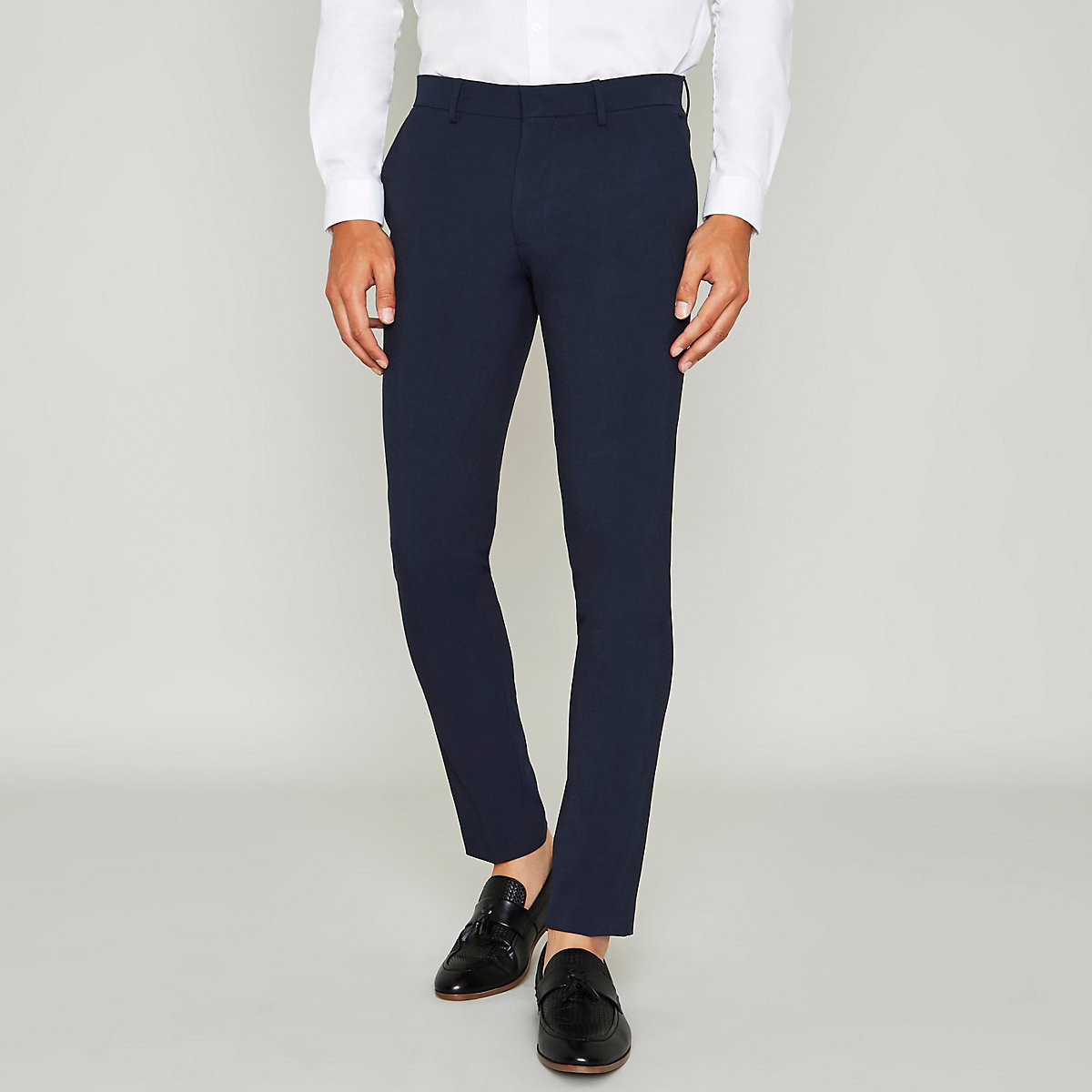 Blue super skinny suit pants