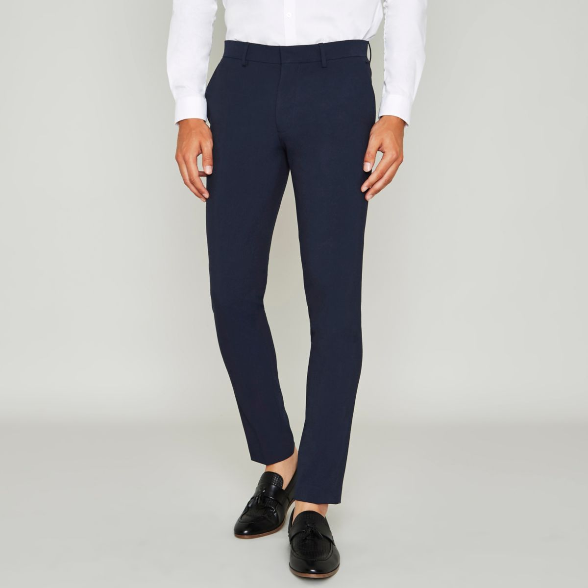 Blue super skinny suit pants
