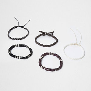 Grey bead and plaited bracelet multipack