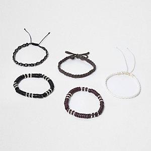 Lot de bracelets effet tressé gris ornés de perles