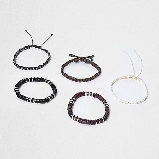 Grey bead and plaited bracelet multipack