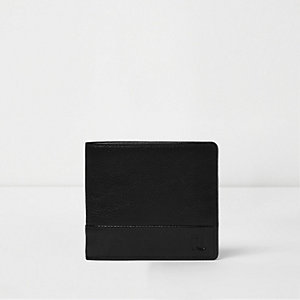 Black textured leather popper button wallet