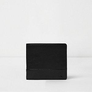 Portefeuille en cuir noir texturé à bouton pression