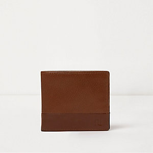 Tan textured leather popper button wallet
