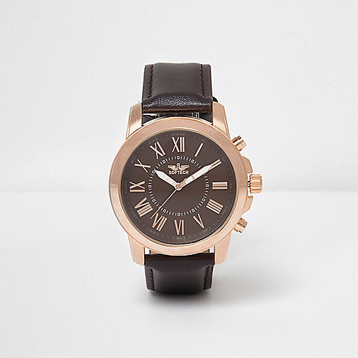 Brown rose gold tone contrast watch