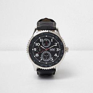 Armbanduhr mit Lünette in Schwarz und Silber