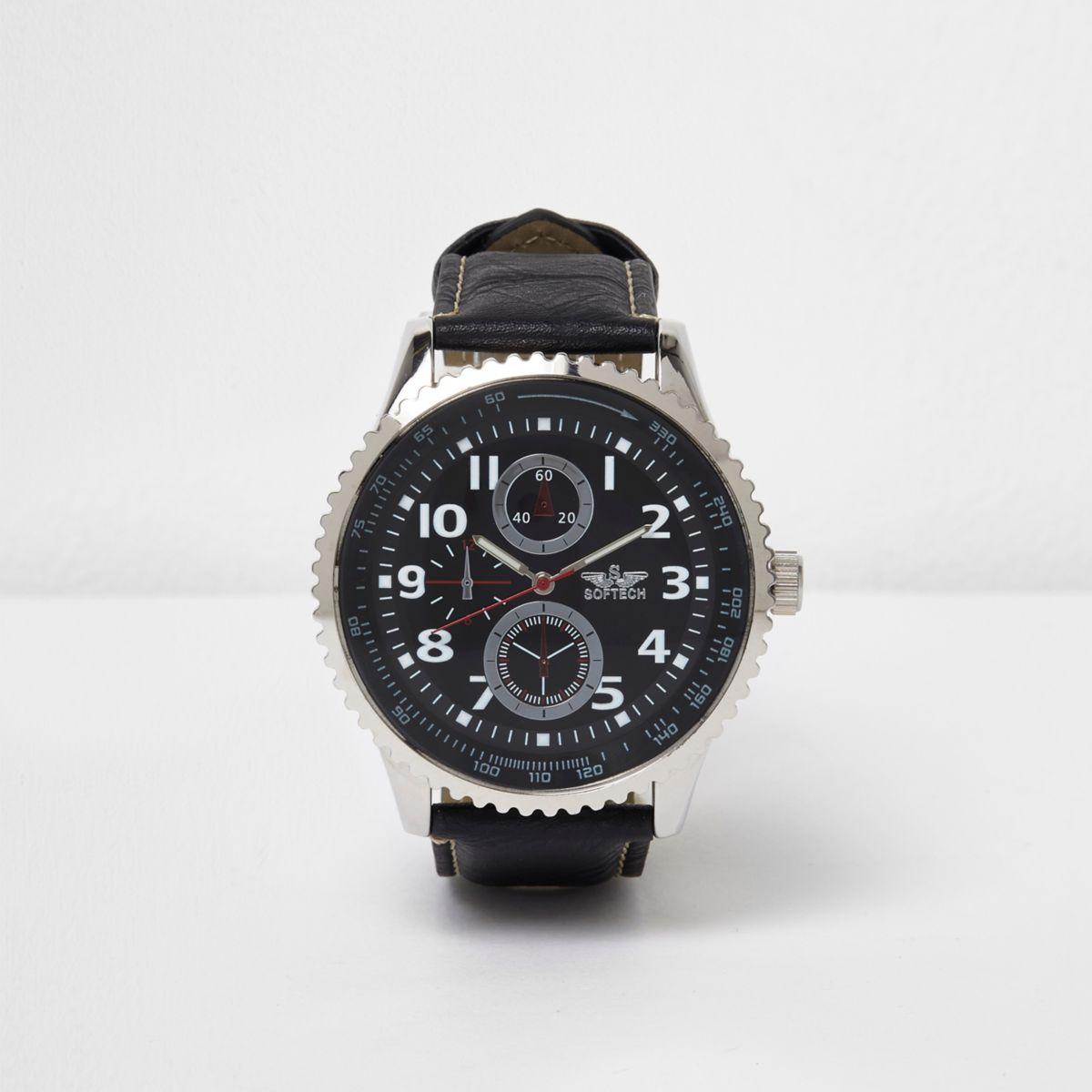Black silver tone bezel watch
